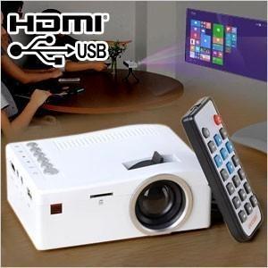 プロジェクター 小型 本体 LEDプロジェクター ミニプロジェクター フルHD USB HDMI 対応 軽量 コンパクト USB電源 400ルーメン|iristopmart123
