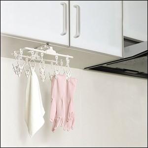 ハンガー キッチンミニハンガー 12ピンチ SM-01 吊戸棚 ドア フック付き コンパクト ピンチ 物干し 室内干し ツウィンモール|iristopmart123