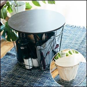 ランドリーバスケット おしゃれ 北欧風 洗濯カゴ 蓋付き ラウンドバスケット サイドテーブル バンバスプラスの写真