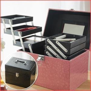 コスメボックス 鏡付き レザー調 トレイ付き 大容量 メイクボックス 化粧箱 ジュエリー ネイル 小物入れ  EF-SR20|iristopmart123