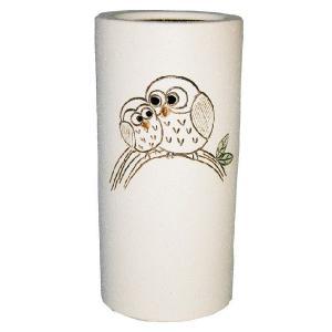 信楽焼 傘立て ふくろう傘立(ベージュ) 陶器 和風|irodoriya
