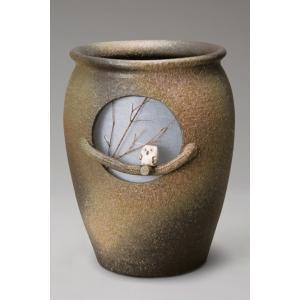信楽焼 傘立て 月ふくろう傘立 陶器