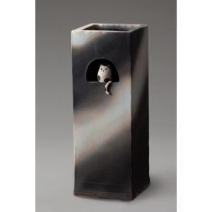 信楽焼 傘立て 小窓ねこ角型傘立 陶器|irodoriya