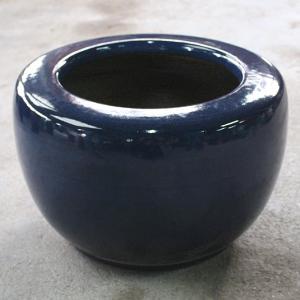 生子火鉢 15号 信楽焼 伝統の火鉢 生子 深みのある青 陶器|irodoriya