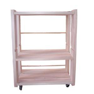 ひのき家具 収納ラック ベッドサイド棚 キャスター付き 国産 無塗装 熊野の良質ひのき家具(無垢材)使用(檜) irodoriya