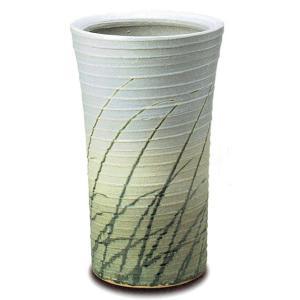 ロクロ目なびき草(チタンマット釉) 信楽焼 陶器 傘立