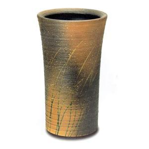 ロクロ目なびき草(自然灰釉) 信楽焼 陶器 傘立