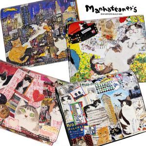 マンハッタナーズ manhattaner's ライブリーパース 財布 レディース 二つ折り財布 二つ折財布 ボックス型小銭入れ 075-1652 財布 ブランド 可愛い 猫柄 irohamise