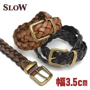 スロウ SLOW ベルト belt メッシュベルト 3.5cm幅 メンズ HS01A ブランド 本革 革|irohamise