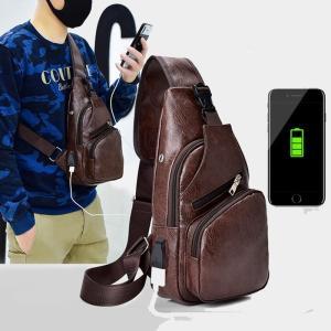 ボディバッグUSBケーブル 携帯充電 メッセンジャーバッグ メンズ ワンショルダー 大容量 ボディー...