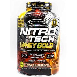 ナイトロテック100%ホエイゴールド 2.51kg (Nitrotech 100% Whey Gold 5.53Lbs) (ダブルリッチチョコレート) iron-peace