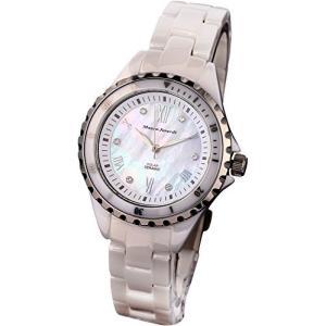 [マウロジェラルディ] 腕時計 ソーラー 3針 セラミック MJ052-3 レディース ホワイト iron-peace