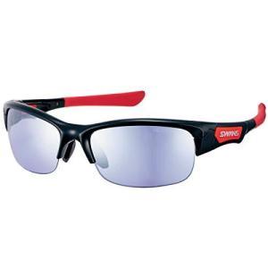 SWANS(スワンズ) スポーツ サングラス スプリングボック ミラーレンズモデル SPB-0714 BK ブラック×レッド ゴルフ ?|iron-peace