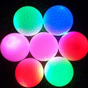 LEDゴルフボール? 光る ゴルフボール ゴルフボール 6色?LED内蔵 発光 点滅?ナイターゴルフ 練習に最適 ライトゴ iron-peace