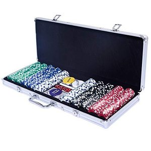 Costway ポーカーチップ チップ 500枚 各色各100枚 ポーカーセット カジノチップ トランプ付き シルバーケース iron-peace