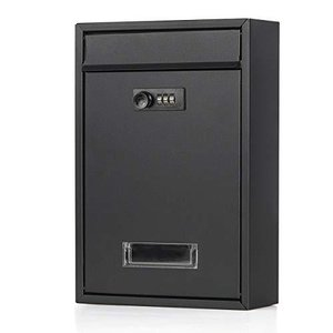Jssmst(ジェスマット) メールボックス ポスト 郵便受け 壁掛け ダイヤル式 暗証番号 金属製 マットブラック Mai iron-peace
