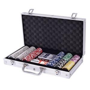 Costway ポーカーチップ チップ 300枚 ポーカーセット カジノチップ トランプ付き シルバー iron-peace