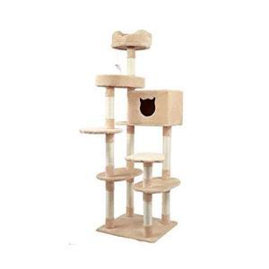 キャットタワー 据え置き 多頭 大型猫 全高177cm おしゃれ ネズミおもちゃ付き 麻 爪とぎボール 隠れ家 キャット iron-peace