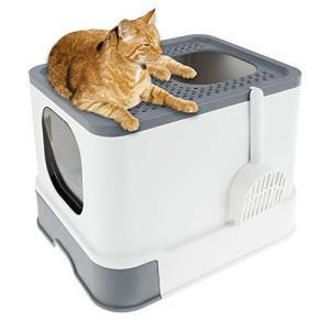 Fashionslee_jp 猫 トイレ 猫用トイレ本体 ネコトイレ システムトイレ 大容量 大型 砂の飛び散ら防止 掃除簡単 脱臭 iron-peace