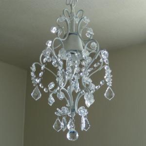 シャンデリア 照明 1灯ミニシャンデリア ホワイト ガラスビーズ 北欧 おしゃれ 姫系 LED対応 275WH|is-interior|02