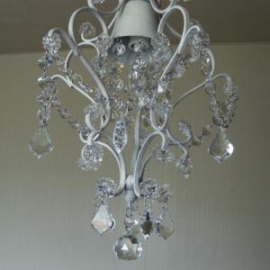 シャンデリア 照明 1灯ミニシャンデリア ホワイト ガラスビーズ 北欧 おしゃれ 姫系 LED対応 275WH|is-interior|03