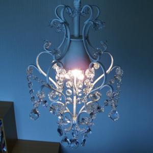シャンデリア 照明 1灯ミニシャンデリア ホワイト ガラスビーズ 北欧 おしゃれ 姫系 LED対応 275WH|is-interior|04