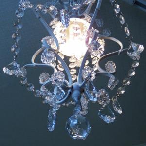 シャンデリア 照明 1灯ミニシャンデリア ホワイト ガラスビーズ 北欧 おしゃれ 姫系 LED対応 275WH|is-interior|05