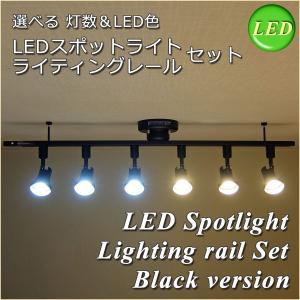 天井照明 LEDスポットライト ライティングレール ダクトレール ブラックセット Black version 選べる灯数 選べるLED色|is-interior