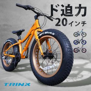 ファットバイク 20インチ Wディスクブレーキ 自転車本体 かっこいい 極太タイヤ 太いタイヤ シマノ 街乗り 雪道 海岸 TRINX T100|isdinf