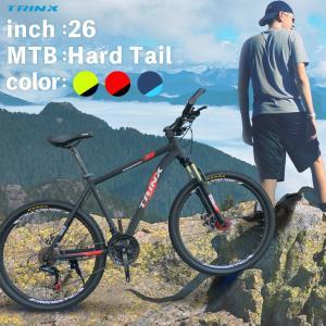 マウンテンバイク 自転車本体 通勤 通学 TRINX(トリンクス)かっこいい 21段変速 26インチ MTB ディスクブレーキ バーエンドバー 標準搭載 M136|isdinf