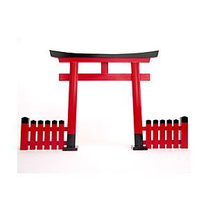 鳥居 木製朱塗 玉垣付1尺3寸|ise-miyachu