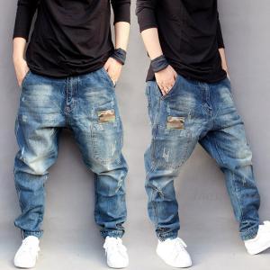 デニムパンツ メンズ ジーンズ ロング丈 ゆったり サルエルパンツ 大きいサイズ ヒップホップ B系...