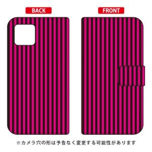 iPhone 11 手帳型ケース ストライプコレクション ブラック&ピンク