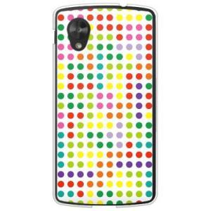 ネクサス5 ケース Google Nexus 5 EM01L ドット柄 水玉 デザイン テトリス ドット ホワイトマルチ|isense