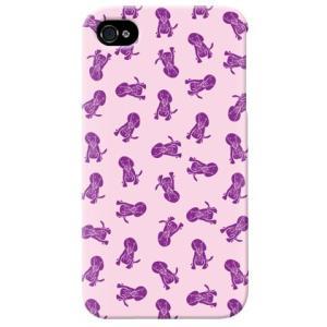 iphone4s カバー iPhone 4S ケース カバー 犬柄 ドッグ ワンちゃん 犬シルエット Dogs パープル|isense