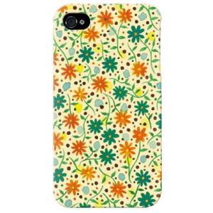 iphone 4s ケース iphone4s カバー アイフォン4s フローラルフラワー グリーン オレンジ|isense
