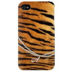 iphone 4s ケース iphone4s カバー アイフォン4s タイガー 虎 トラ柄 イニシャル A|isense