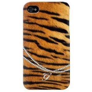 iphone 4s ケース iphone4s カバー アイフォン4s タイガー 虎 トラ柄 イニシャル G|isense