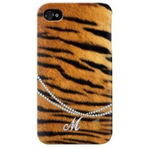 iphone 4s ケース iphone4s カバー アイフォン4s タイガー 虎 トラ柄 イニシャル M|isense