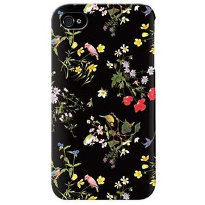 iPhone 4S ケース カバー 花柄 フラワーデザイン 花柄ケース Flower ブラック|isense