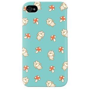 iphone4s カバー iPhone 4S ケース カバー 熊 クマ 茸 きのこ くまキノコ Blue|isense