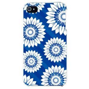 iphone4s カバー iPhone 4S 花柄 フラワーデザイン フラワーストライプ ブルー|isense