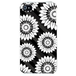 iphone4s カバー iPhone 4S 花柄 フラワーデザイン フラワーストライプ ブラック|isense