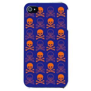iphone4s カバー iPhone 4S ケース カバー ドクロ どくろ 骸骨 スカル ネイビー オレンジ|isense