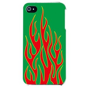 iphone4s カバー iPhone 4S ケース カバー 炎柄 炎デザイン ファイアー ファイヤーパターン グリーン レッド|isense