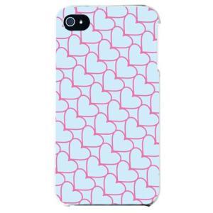 iphone4s カバー iPhone 4S ケース カバー ハートデザイン ハート柄 ハートストライプ サックスブルー ピンク|isense