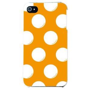 iphone4s カバー iPhone 4S ケース カバー ドットフライ オレンジ ホワイト|isense