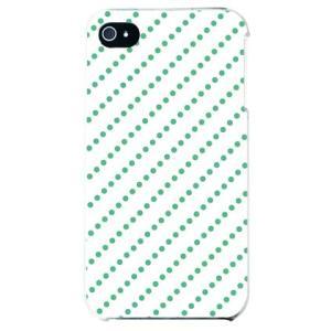 iphone4s カバー iPhone 4S ケース カバー ドットストライプ ホワイト グリーン|isense