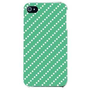 iphone4s カバー iPhone 4S ケース カバー ドットストライプ グリーン ホワイト|isense