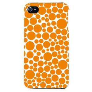 iphone4s カバー iPhone 4S ケース カバー バブルドット ホワイト オレンジ|isense